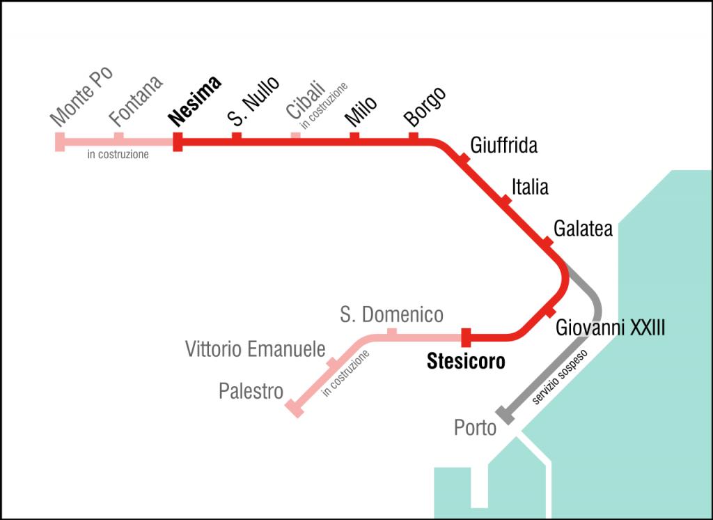 Catania Metro map