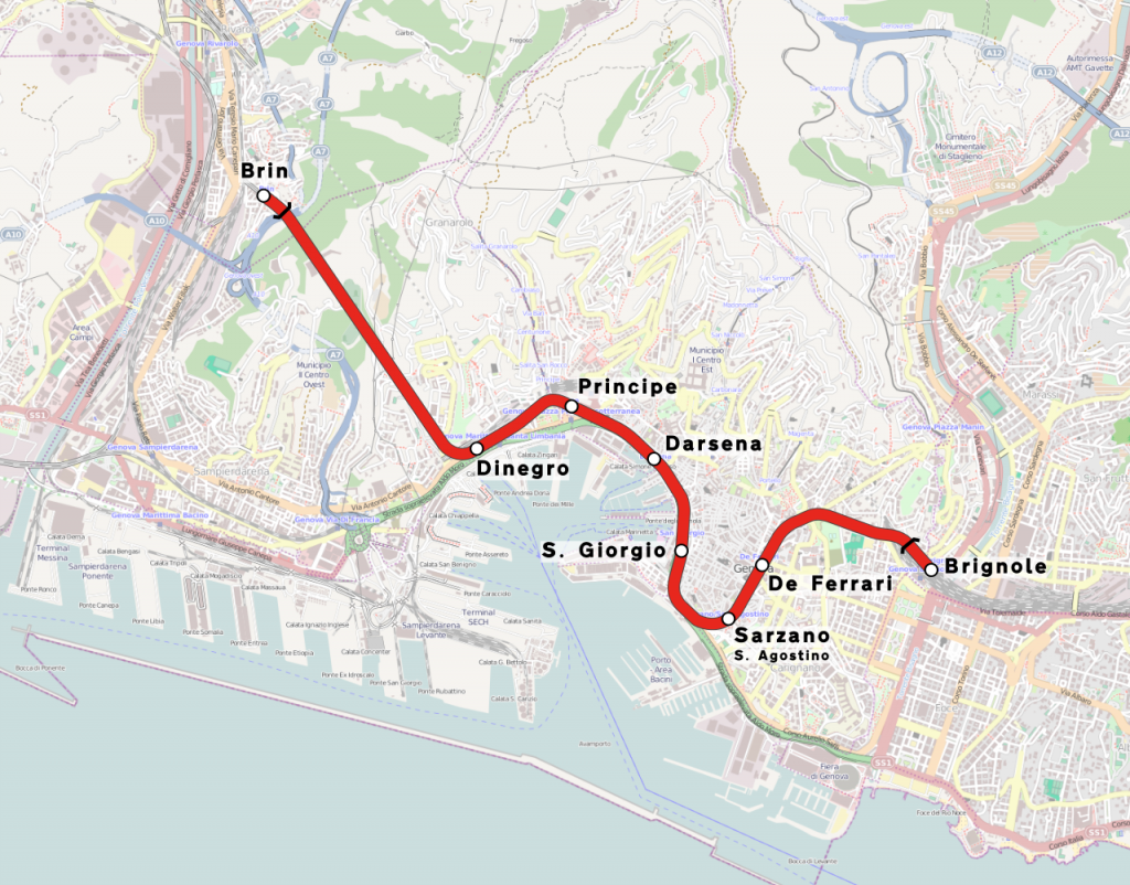 Genoa Metro map
