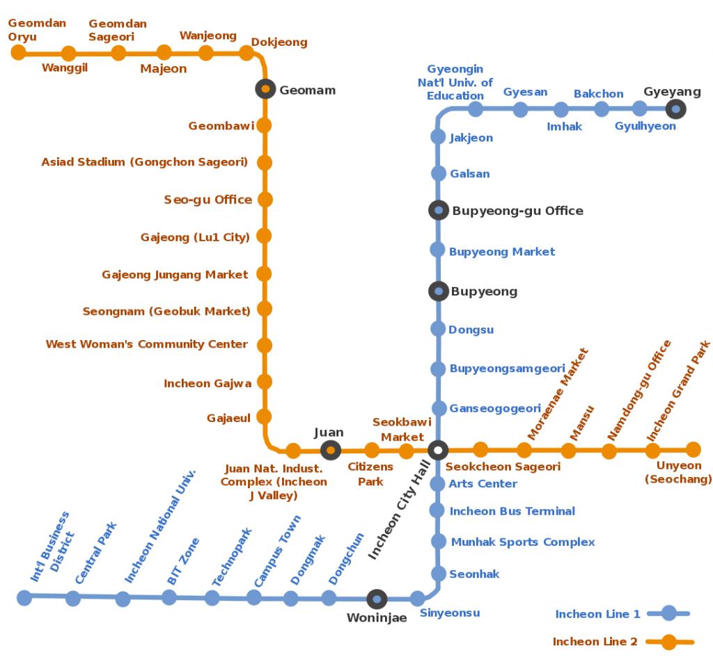Incheon Subway map