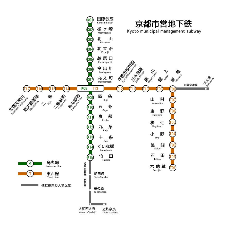Kyoto Municipal Subway map