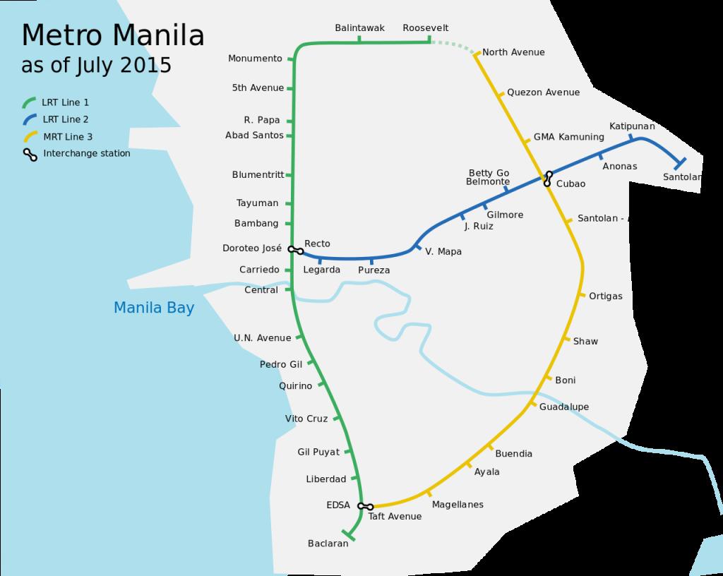Manila Metro Rail Transit System map