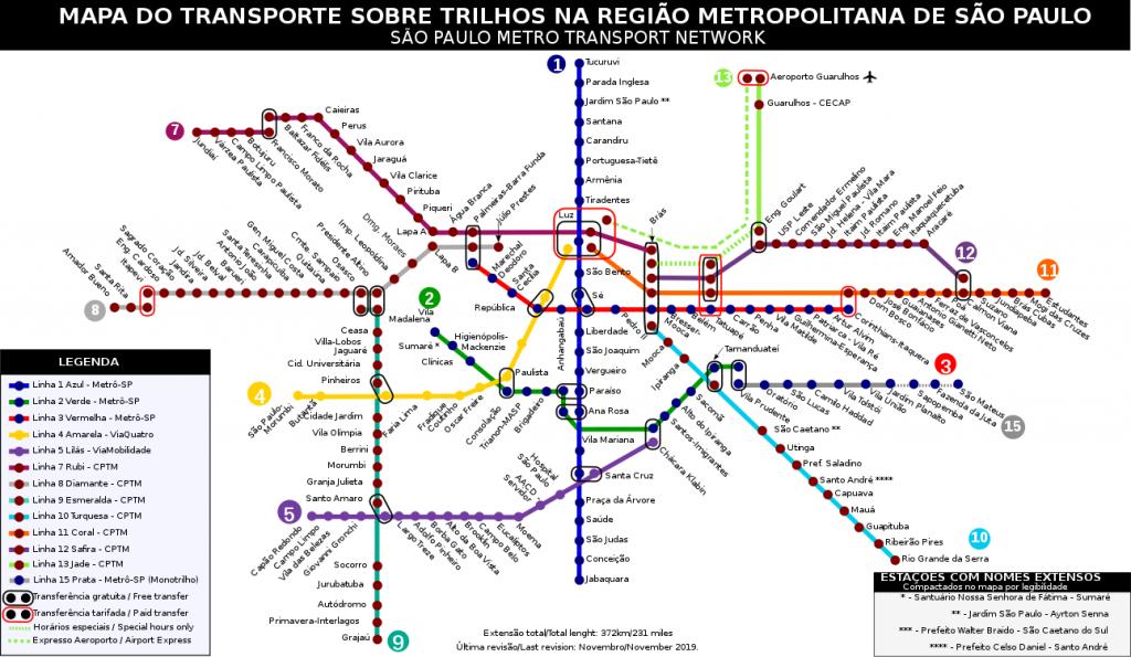 São Paulo Metro map