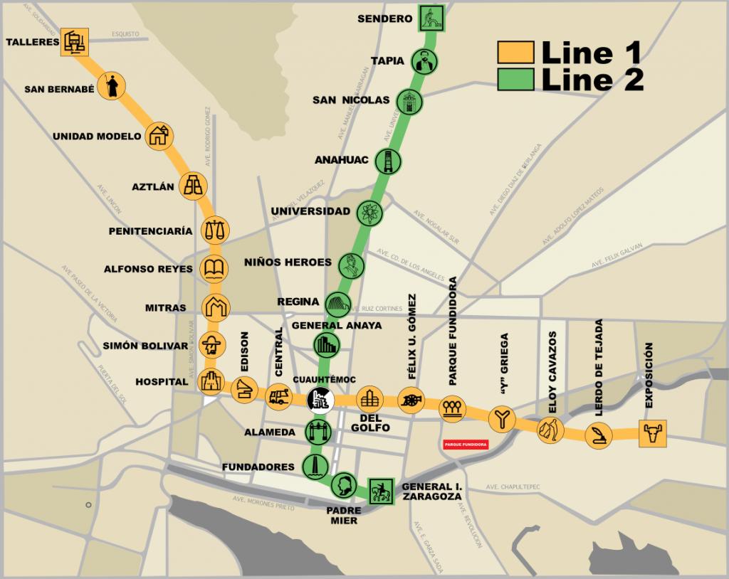 Monterrey Metro map