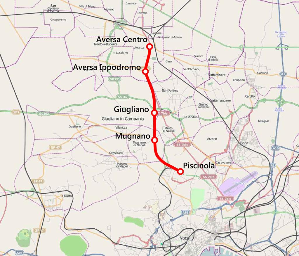 Naples–Aversa railway map