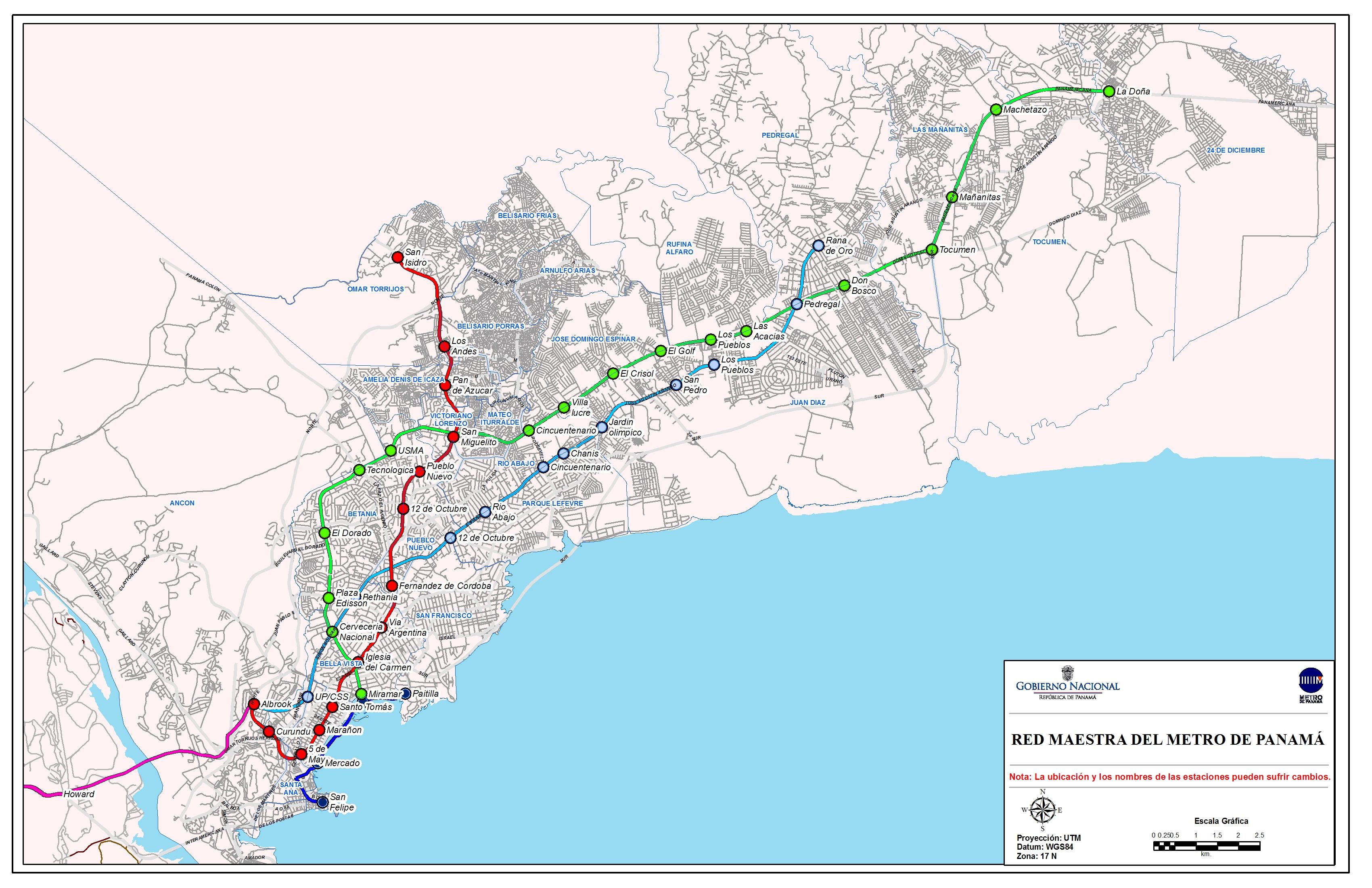 Panama Subway Map.Panama Metro Subway And Metro Train Maps