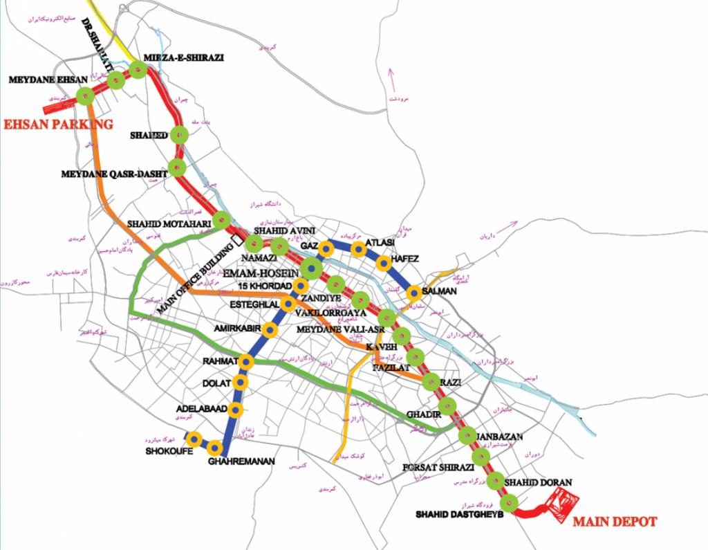 Shiraz Metro map