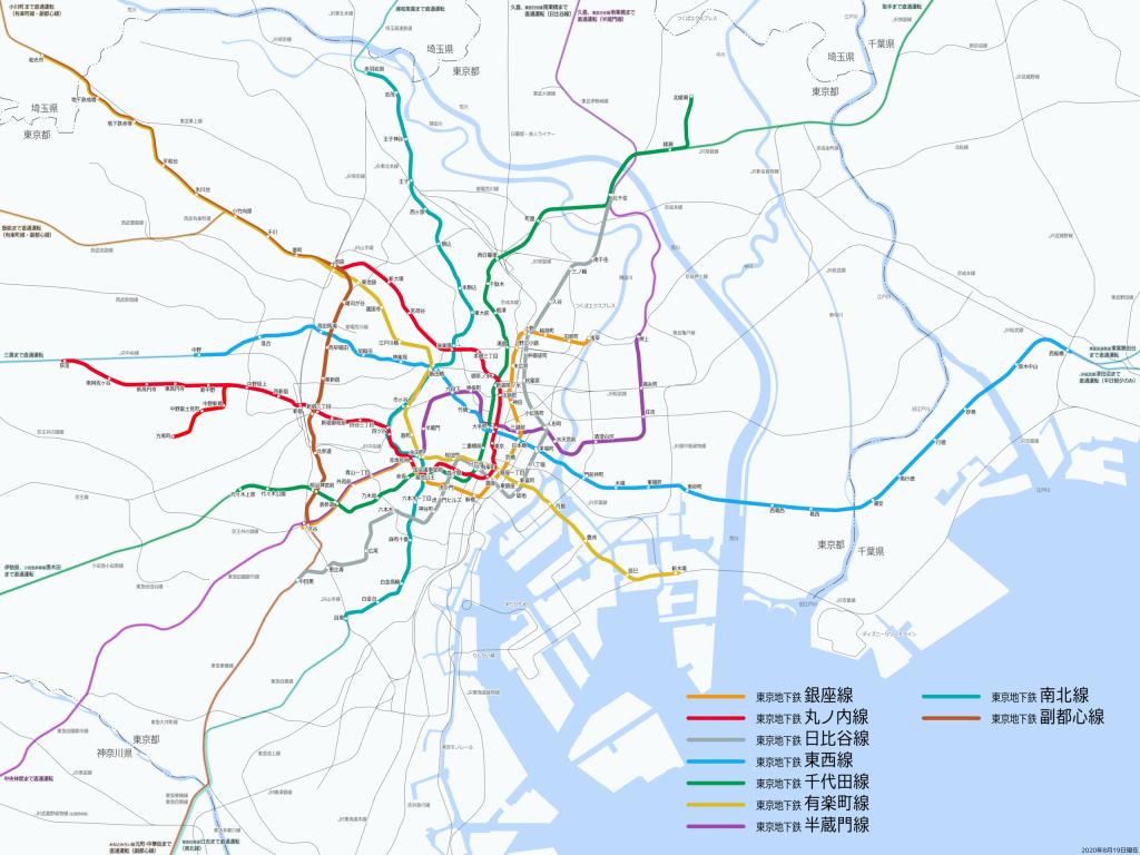 System map of Tokyo metro