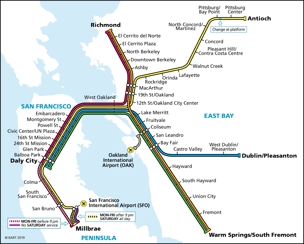 Bay Area Rapid Transit, San Francisco map