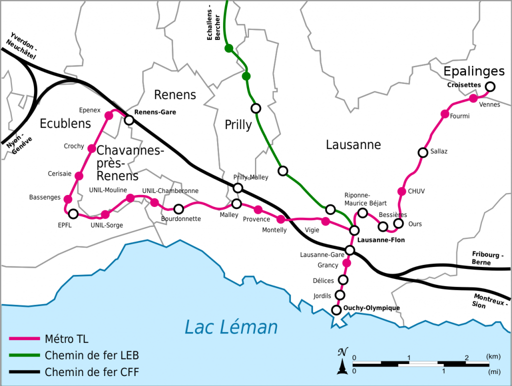 Lausanne Metro map