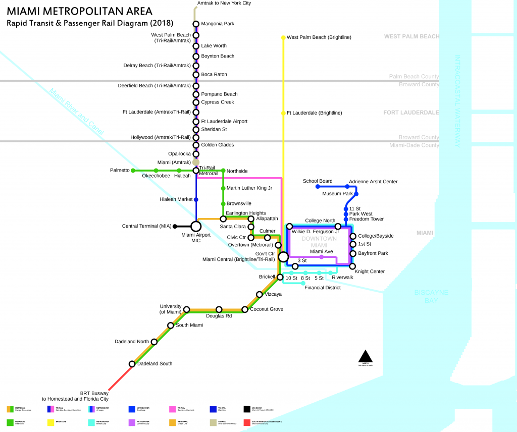 Rail rapid transit system of Miami (Metrorail) map