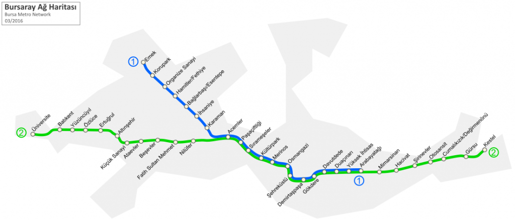Rapid transit system in the city of Bursa map