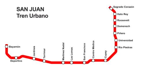 Tren Urbano map