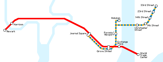Map of the PATH system (late-night hours and on weekends/holidays)