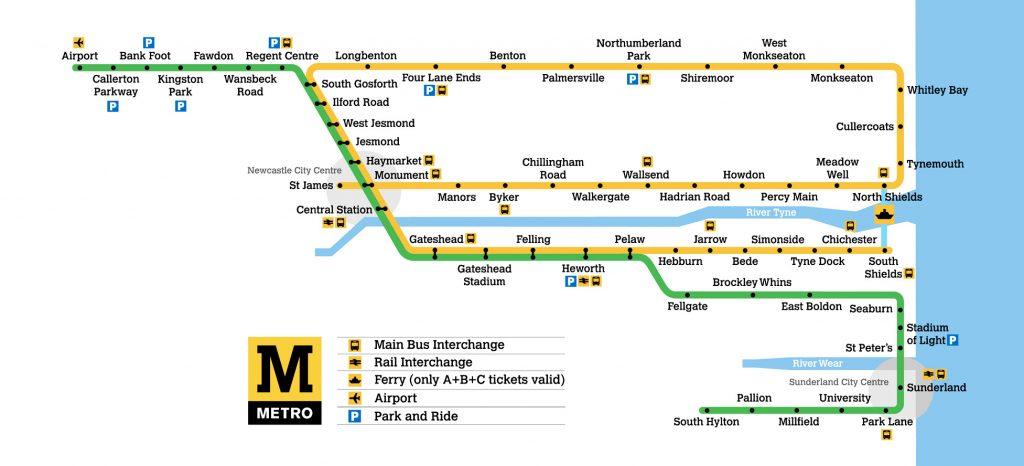 Tyne and Wear Metro map