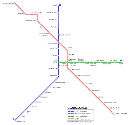 Guadalajara light rail system map