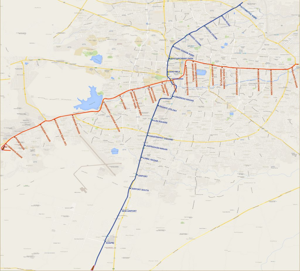 System map of Nagpur metro